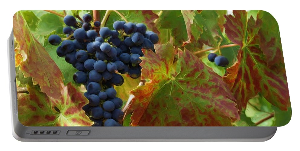 Grape Vine Portable Battery Charger featuring the photograph On The Vine by Jacklyn Duryea Fraizer