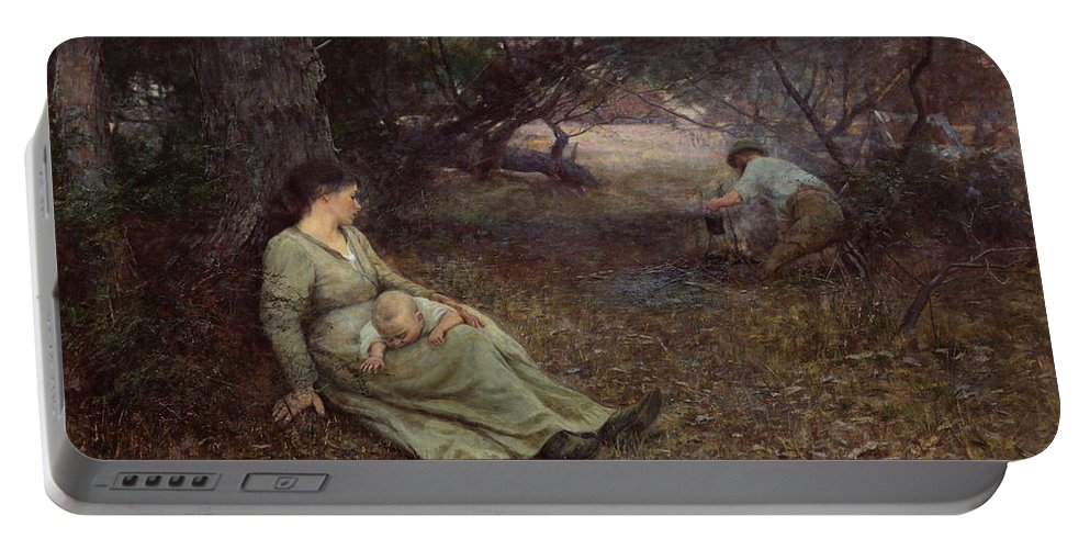 Frederick Mccubbin Portable Battery Charger featuring the painting On the wallaby track by Frederick McCubbin