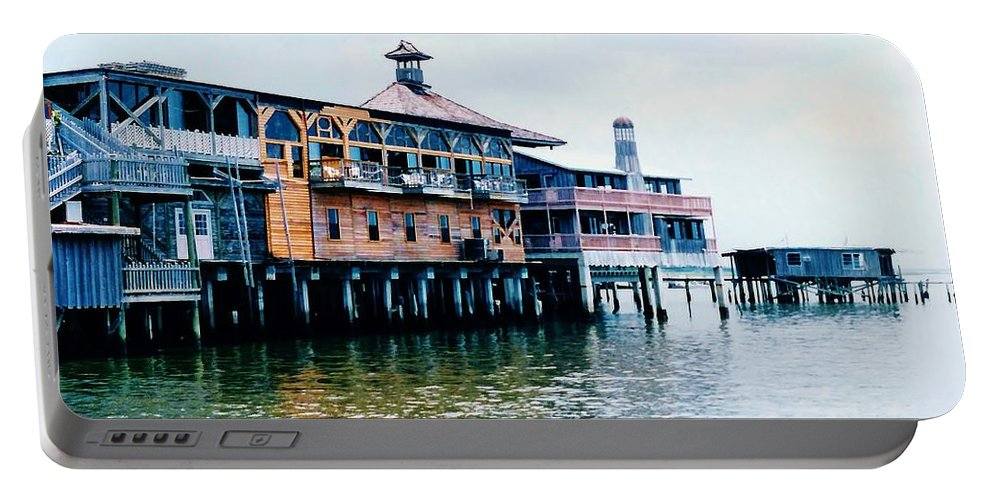 Cedar Key Portable Battery Charger featuring the photograph Buildings On The Water by D Hackett