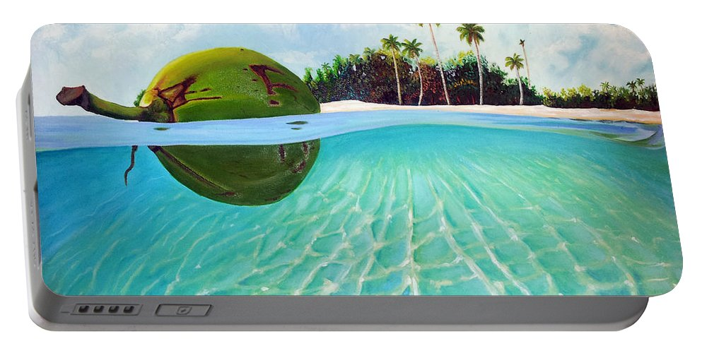 Coconut Portable Battery Charger featuring the painting On The Way by Jose Manuel Abraham