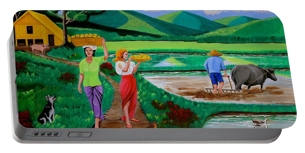 Landscape Portable Battery Charger featuring the painting One Beautiful Morning In The Farm by Lorna Maza
