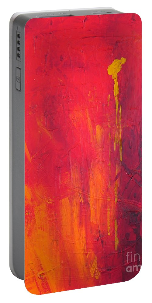 Yellow Portable Battery Charger featuring the painting One Big Coverup by Paulette B Wright