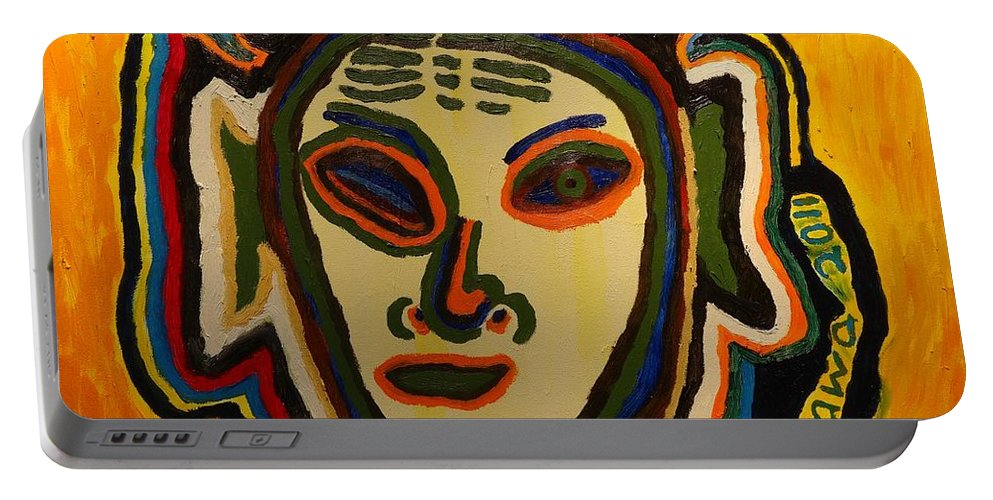 Aliens Portable Battery Charger featuring the painting One Eyed Mystery Women by Douglas W Warawa