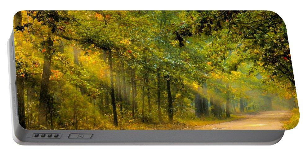 Mist Portable Battery Charger featuring the photograph One Misty Morning by Sharon Woerner