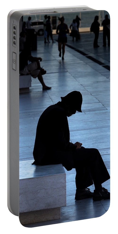 One Of Us Portable Battery Charger featuring the photograph Meditation by Edgar Laureano