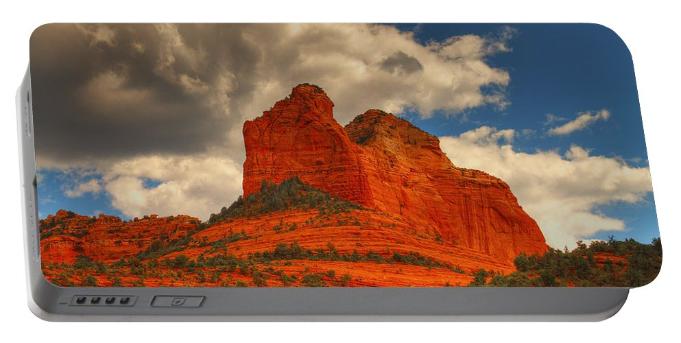 Red Rocks Portable Battery Charger featuring the photograph One Sedona Sunset by Hany J