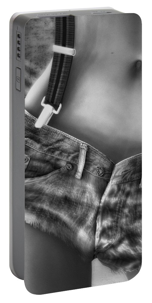 Woman Portable Battery Charger featuring the photograph One Suspender Is Enough by Bob Orsillo