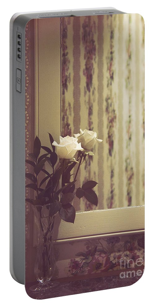 Rose Portable Battery Charger featuring the photograph One White Rose by Margie Hurwich