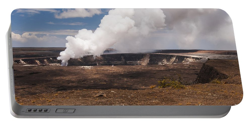 Halema'uma'u Crater Ongoing Eruption Craters Hawaii Volcano National Park Big Island Parks Landscape Landscapes Gas Emission Emissions Smoke Portable Battery Charger featuring the photograph Ongoing Eruption by Bob Phillips