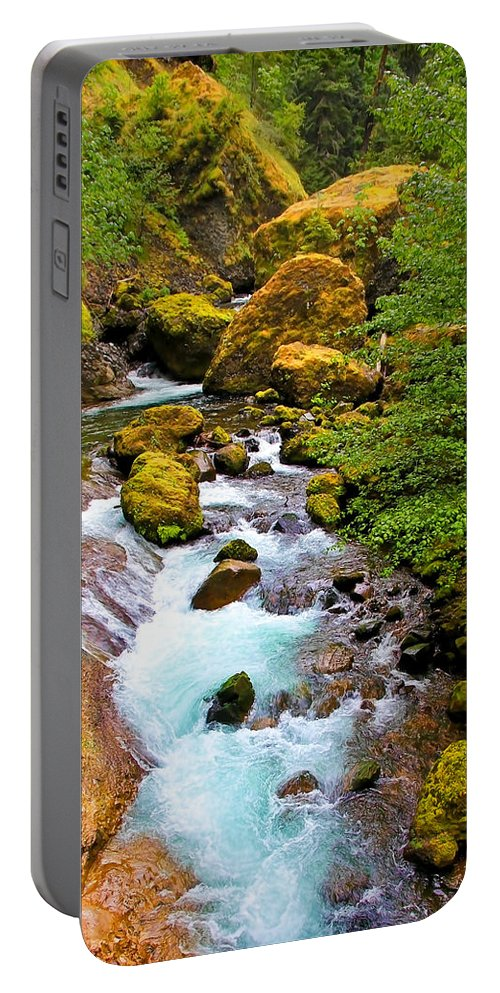 Wahclella Falls Portable Battery Charger featuring the photograph Opal Rivers by Athena Mckinzie