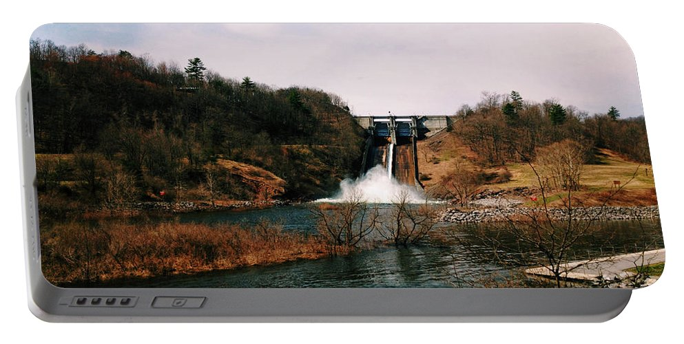 Nature Portable Battery Charger featuring the photograph Dam At Raystown Lake by Tom Gari Gallery-Three-Photography