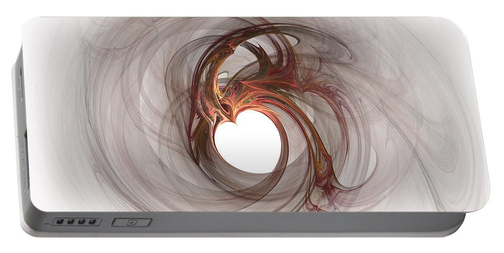 Valentine Day Portable Battery Charger featuring the painting Open To Love Fine Fractalart by Georgeta Blanaru