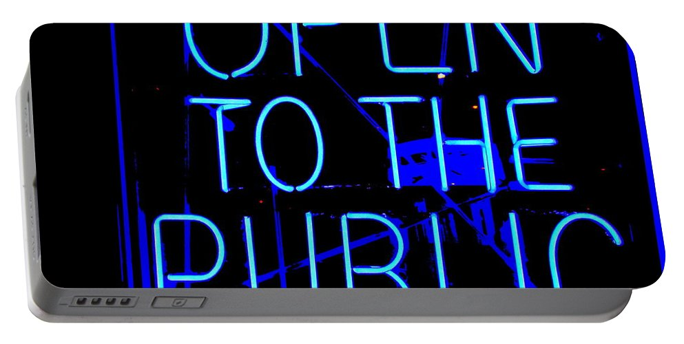 Neon Sign Portable Battery Charger featuring the photograph Open To The Public by Ed Weidman