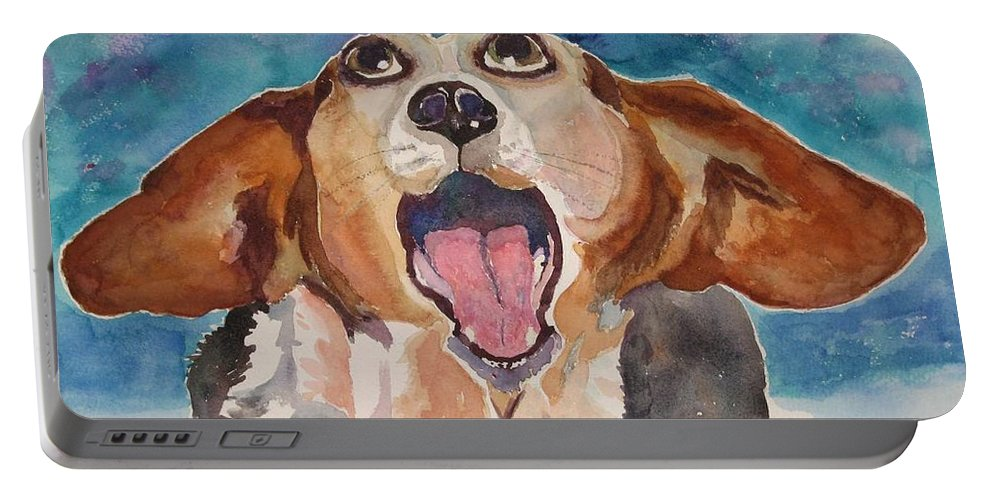 Basset Hound Portable Battery Charger featuring the painting Opera Dog by Brenda Kennerly