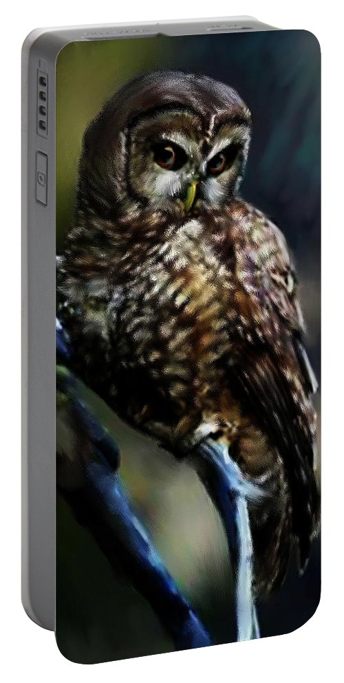 Owl Portable Battery Charger featuring the painting Ophelia by Shere Crossman