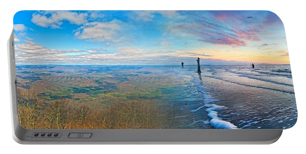 Beach Portable Battery Charger featuring the digital art Opposites Attract by Betsy Knapp