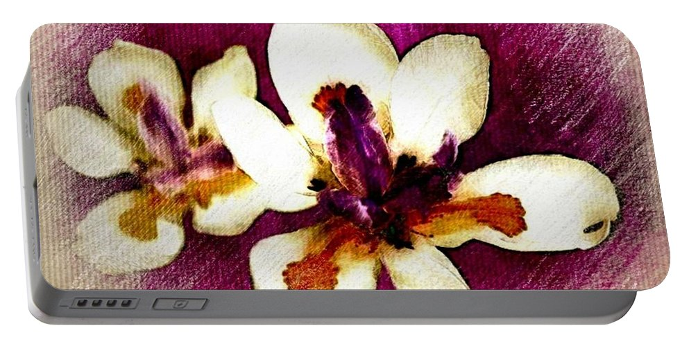Orchid Portable Battery Charger featuring the photograph Opulent Orchid by Ellen Cannon