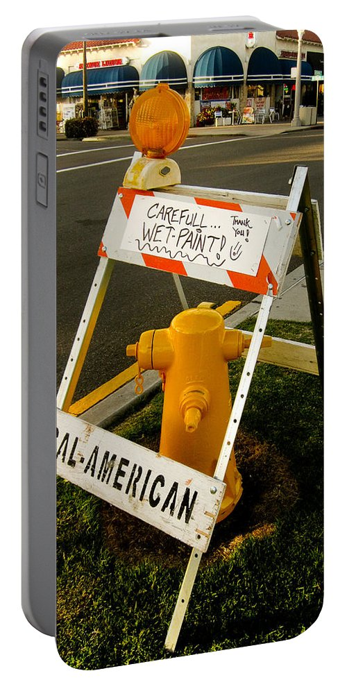 Fire Hydrant Portable Battery Charger featuring the photograph Orange And Ninth Coronado California by Sharon French