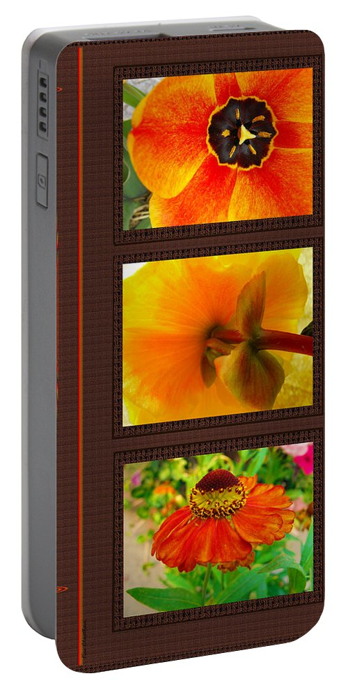 Photo Montage Portable Battery Charger featuring the digital art Orange Bloom Motif R by Kae Cheatham