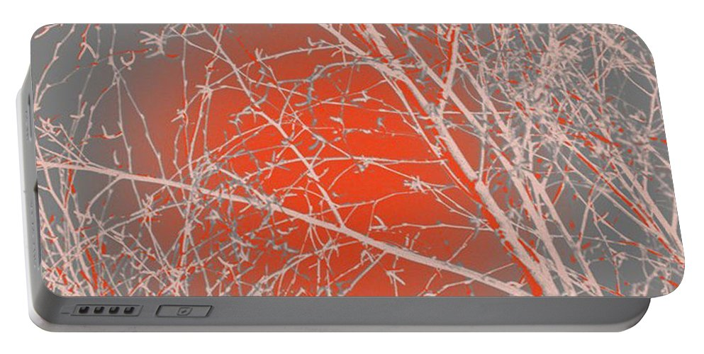 Orange Portable Battery Charger featuring the digital art Orange Branches by Carol Lynch