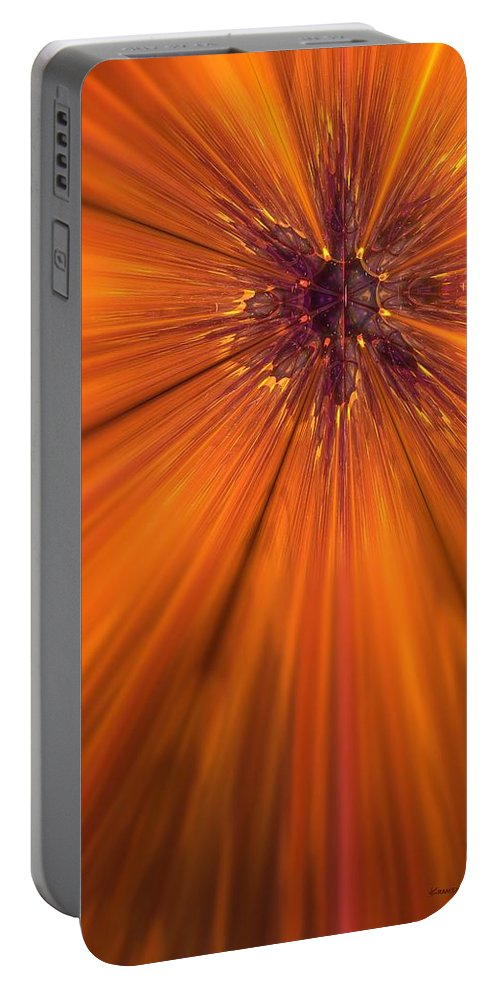 Abstract Portable Battery Charger featuring the digital art Orange Burst by James Kramer