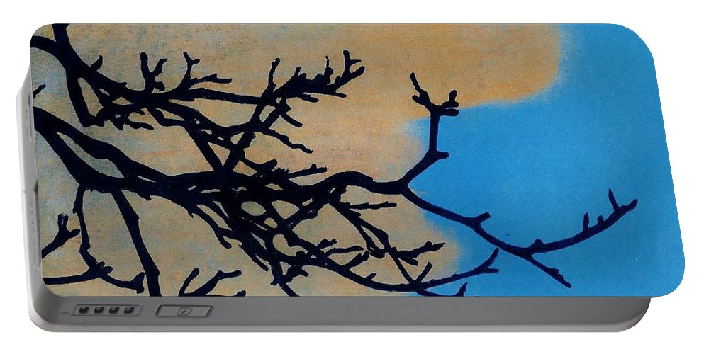 Sunset Portable Battery Charger featuring the drawing Orange Clouds by D Hackett