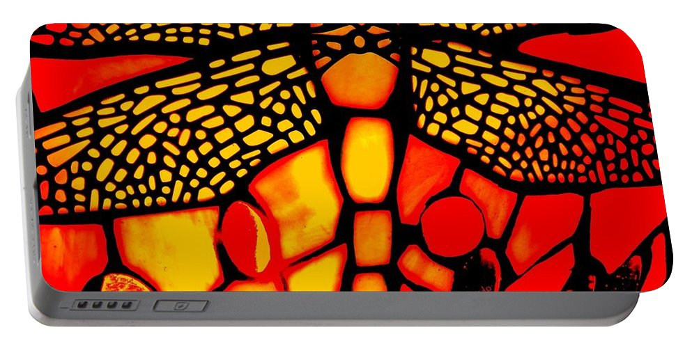 Lamp Portable Battery Charger featuring the photograph Orange Dragonfly by Chris Berry