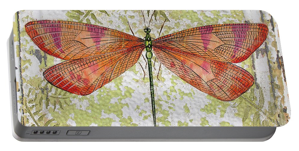 Acrylic Painting Portable Battery Charger featuring the painting Orange Dragonfly On Vintage Tin by Jean Plout