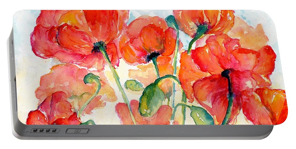 Orange Portable Battery Charger featuring the painting Orange Field Of Poppies Watercolor by CheyAnne Sexton
