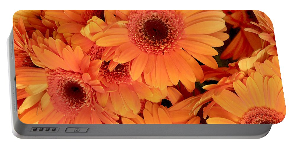 Gerbera Daisies Portable Battery Charger featuring the photograph Orange Gerbera Daisies by Art Block Collections