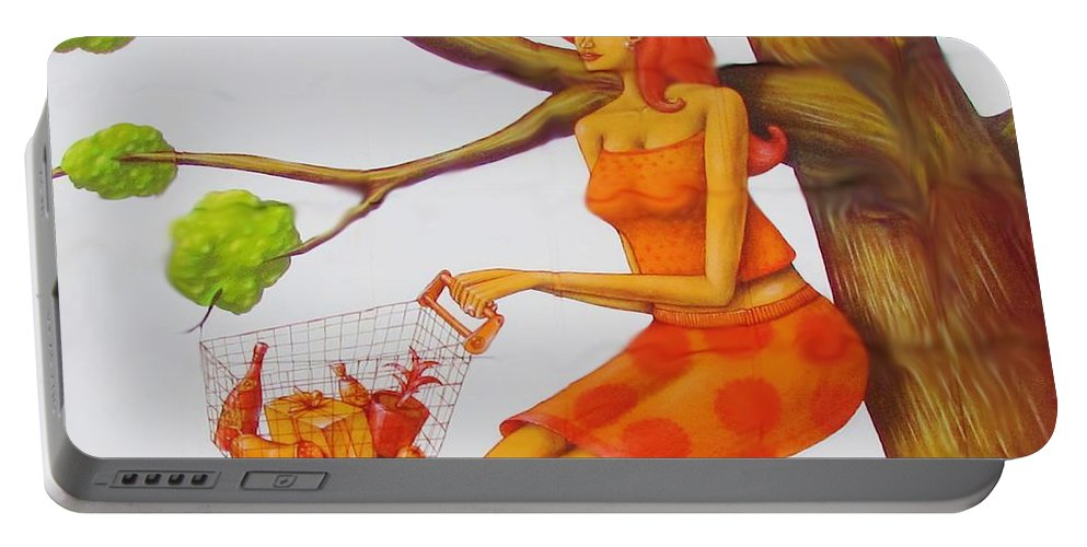 Kerisart Portable Battery Charger featuring the photograph Orange Olga by Keri West