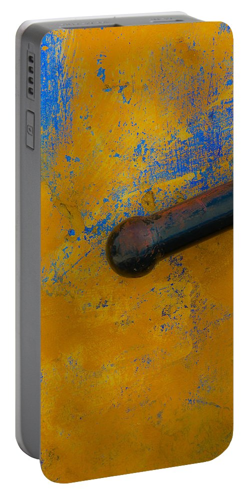 Railing Portable Battery Charger featuring the photograph Orange On Blue by Edgar Laureano