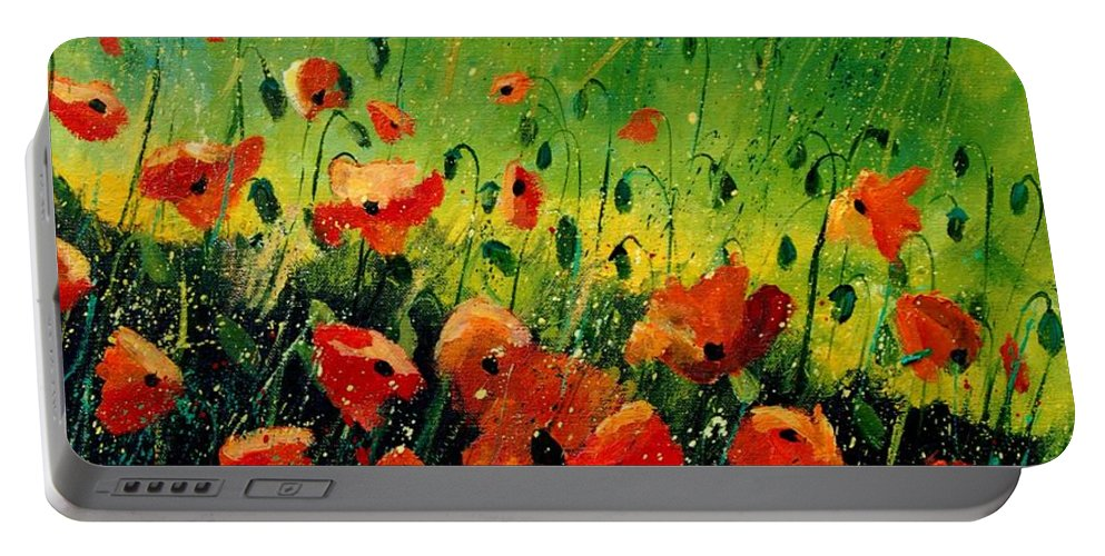 Poppies Portable Battery Charger featuring the painting Orange Poppies by Pol Ledent
