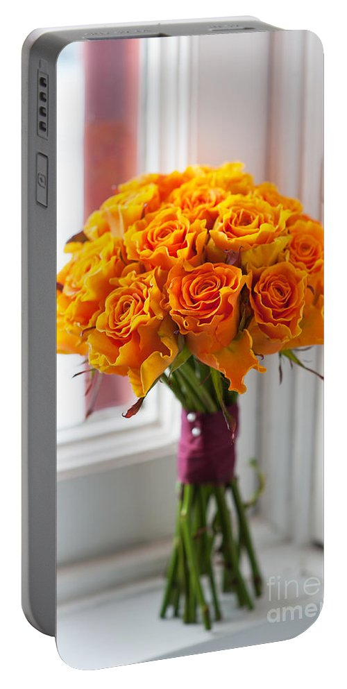Wedding Bouquet Portable Battery Charger featuring the photograph Orange Rose Wedding Bouquet by Lee Avison