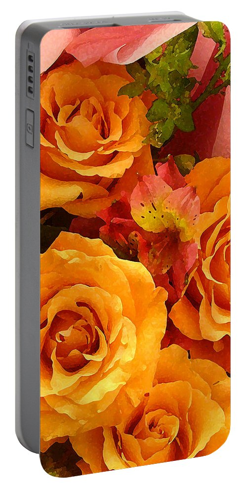 Roses Portable Battery Charger featuring the painting Orange Roses by Amy Vangsgard
