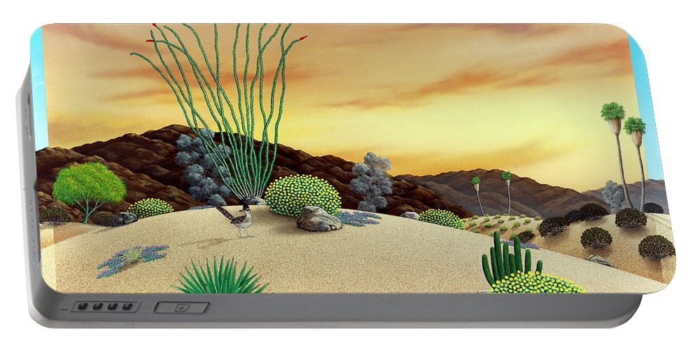 Desert Portable Battery Charger featuring the painting Orange Sky Sunset by Snake Jagger
