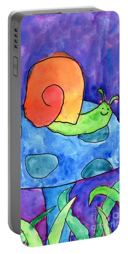 Snail Portable Battery Charger featuring the painting Orange Snail by Nick Abrams Age Twelve
