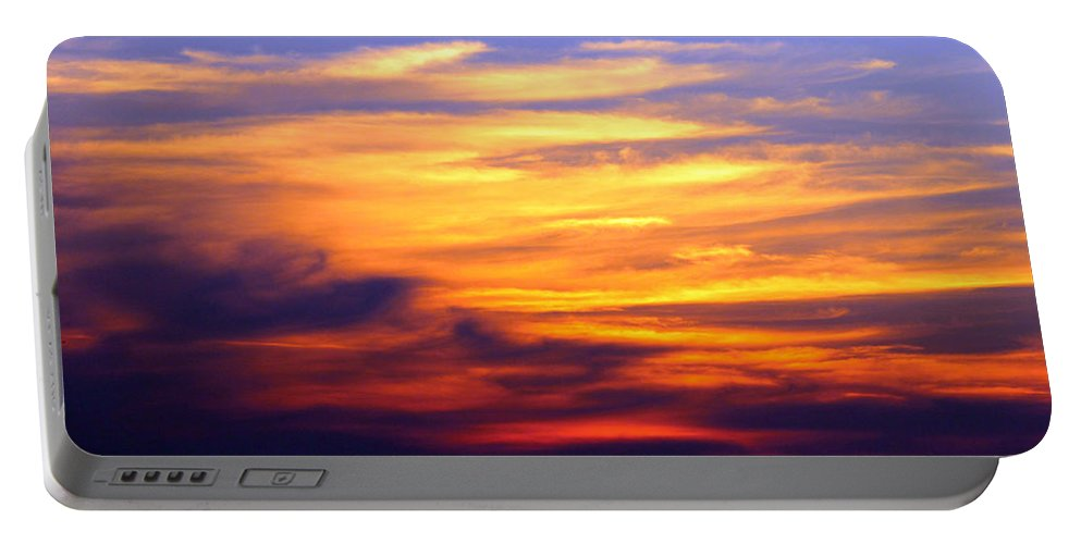 Carolina Beach Portable Battery Charger featuring the photograph Orange Sunset Sky by Cynthia Guinn
