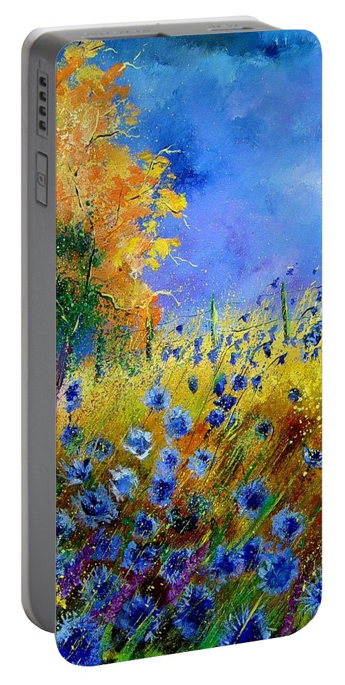 Poppies Portable Battery Charger featuring the painting Orange Tree And Blue Cornflowers by Pol Ledent