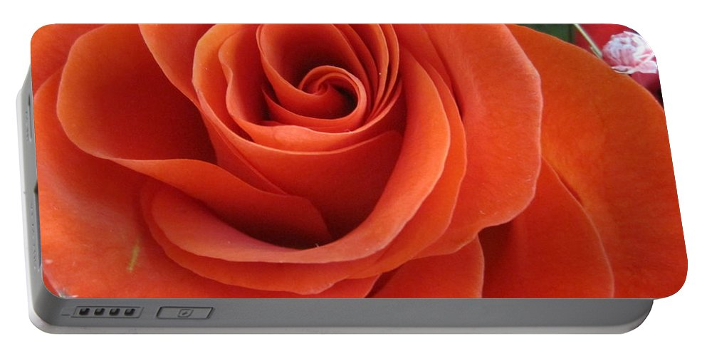 Floral Portable Battery Charger featuring the photograph Orange Twist Rose 2 by Tara Shalton