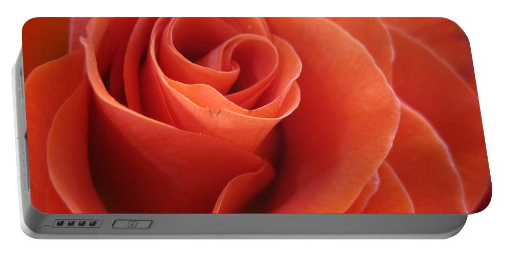 Floral Portable Battery Charger featuring the photograph Orange Twist Rose 3 by Tara Shalton