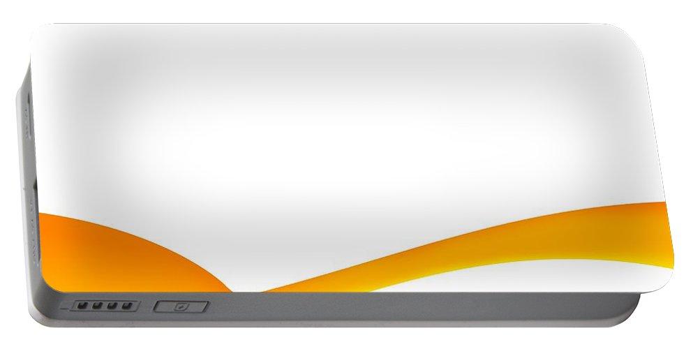 Orange Portable Battery Charger featuring the digital art Orange Wave Background by Henrik Lehnerer