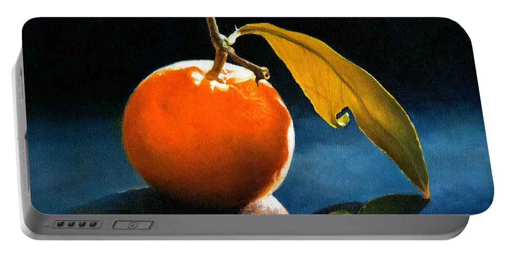 Orange Paintings Portable Battery Charger featuring the painting Orange With Leaf by Anthony Enyedy