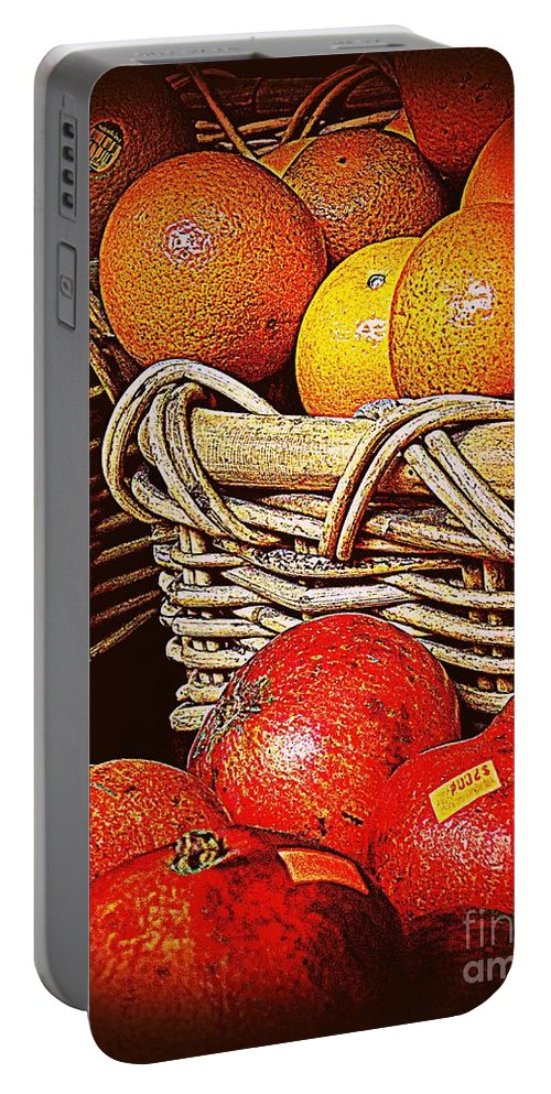 Orange Portable Battery Charger featuring the photograph Oranges And Persimmons by Miriam Danar