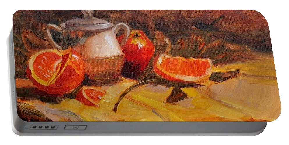 Still Life Portable Battery Charger featuring the painting Oranges by Elena Sokolova
