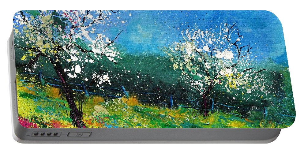 Landscape Portable Battery Charger featuring the painting Orchard 564150 by Pol Ledent