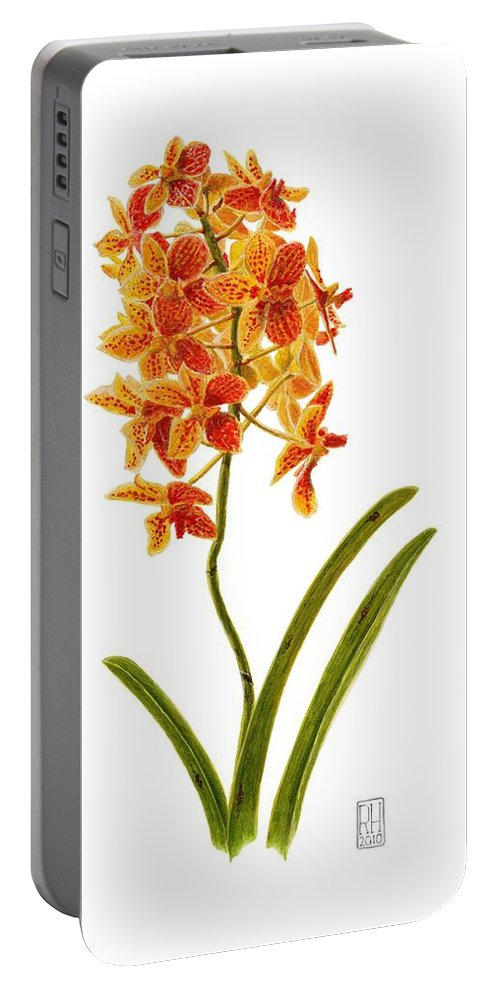 Orchid Portable Battery Charger featuring the painting Orchid 2 by Richard Harpum