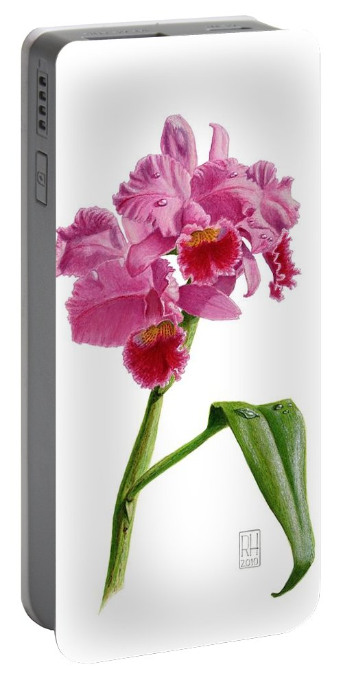 Orchid Portable Battery Charger featuring the painting Orchid - Lc. Culminant La Tuilerie by Richard Harpum