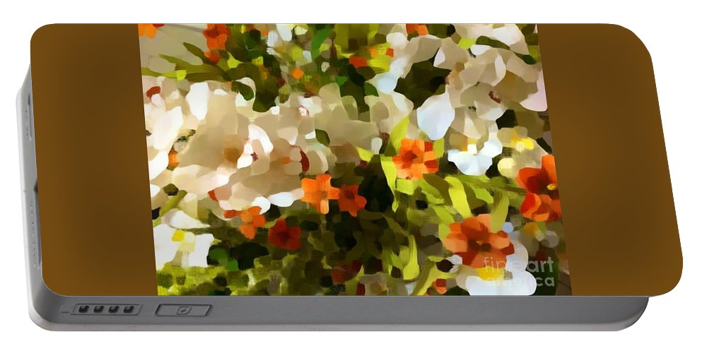 Flower Portable Battery Charger featuring the photograph Orchids And Hydrangea by Saundra Myles