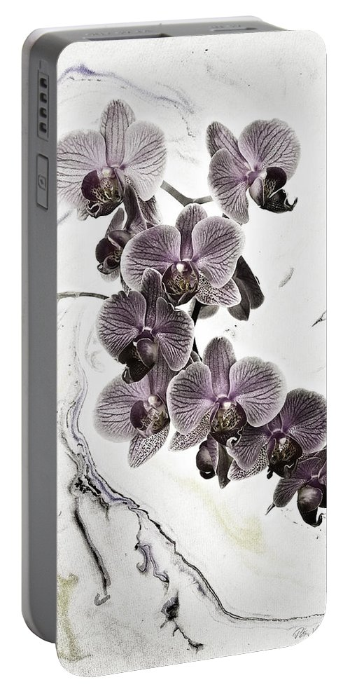Orchid Portable Battery Charger featuring the mixed media Orchids And Suminagashi by Peter v Quenter
